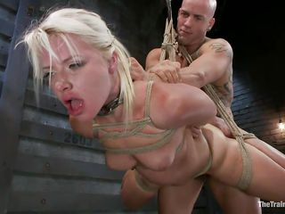 beautiful blond hanging tied up is fucked