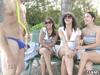 casual dressed milfs and two horny nude men