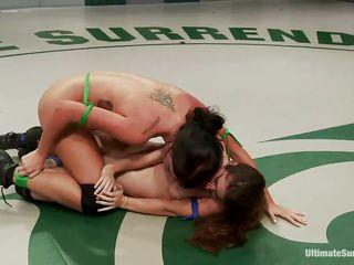 lesbo hotties wrestling for supremacy