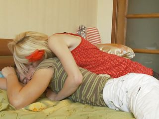beautiful thin blonde sucking a lazy cock