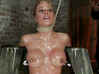 strangulated golden-haired babe acquires a hard cock in her mouth