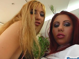 A super hawt blonde and a redhead are ready to share a load.