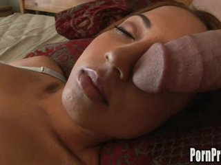 Veronique Vega's mouth on a giant cock whilst getting her 40 winks.