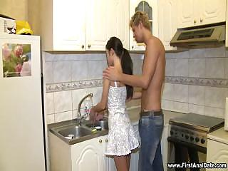Sexy Black brown Full Body Workout In Kitchen
