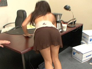 Sexy brunette office angel Ann Marie Rios