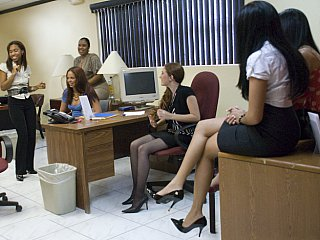 Office chicks getting obscene with male striper