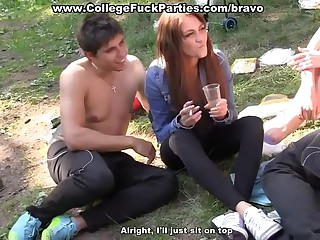 Student sex at outdoor party in a tent