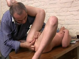 Charming old teacher is drilling sweet sweetheart from behind
