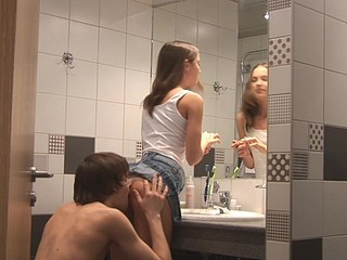 Kinky Ivana Fukalot with upskirt is having fuck in the bathroom