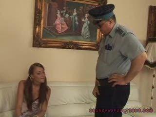Grandpa cop copulates teen