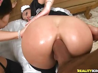This ultra hot video features two bubble gazoo maids Liza Del Sierra and Tiffany Brooks. They love thick cock in the ass. Watch them get their juicy butts fucked hard by one lucky guy.
