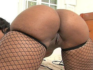 Cherokee Dass bent over and gave the camera some great views of her perfectly formed bubble butt.  We loved the look of her thick hips overspread from toe to bawdy cleft in fishnet nylons.  Those legs were pretty soon widen wide and taking each hard inch of her dude until that guy came all over her arse.