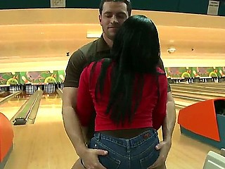 Bella loosing her arse at bowling to Jayla Foxx, he takes off her shorts, bents her over and licks out her asshole