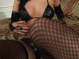 Exotic Oriental mistress Niya Yu mixes leather and lace to get her fellow rock hard.  This Babe expertly sucks him off, jacking him off with her tiny hands and the right amount of suction.  That Babe takes his cum all over her face with a large smile.  Now this is a gal who can't live out of her job.