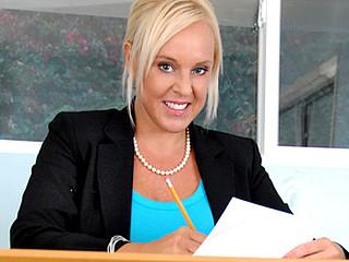 Gorgeous secretary with massive love bubbles masturbates in the office