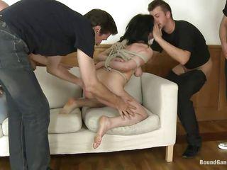 tied up brunette milf punished and gang banged