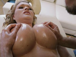 hot blonde receives her pussy fingered at massage