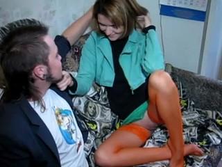 Legal Age Teenager in orange nylons takes shlong