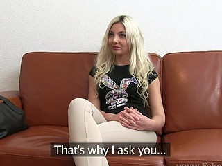 Sexy blonde Julia bares her electrifying body during interview