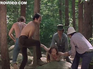 Four Lustful Lumberjacks Abase Camille Keaton Outdoors In The Forest