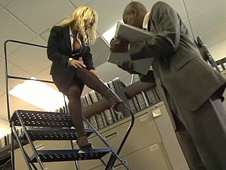 Busty blonde office girl gets fucked by dark dong