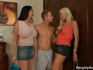 2 milfs. Michelle McLaren and Nadia Night. one as well as the other with big bazookas and long legs meet Nadia's son's friend at home.  He is curious about sex with two breasty moms. Horny big boobed milfs strip. engulf and receive fucked!