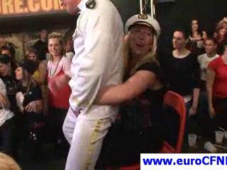 Golden-haired cutie playing with a stripper