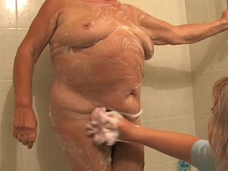 Old Chubby lady granny engulfing dick and masturbation