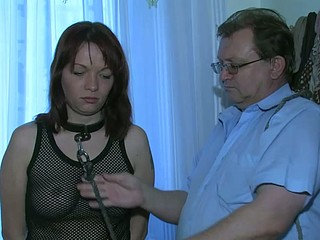 Sexy youthful Hotty playing with old guy and his old chubby mature