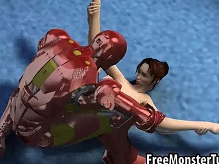 Foxy 3D brunette hair babe gets fucked by Iron Man