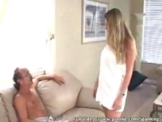 Girl receives spanked for cheating
