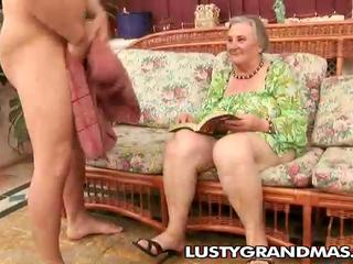 Nasty granny Margots hairy pussy for youthful cock