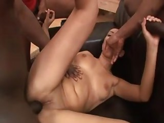 White wench acquires three huge black cocks in this hot video