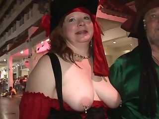 Without a stitch on Erotic amateurs having funtime One A street