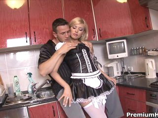 Sexy maid Donna Bell getting backdoor group-fucked hard