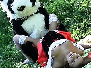 This is a story of a red riding hood, but it differs from the one u were told as a child :) The sexy teenage red riding hood was walking alone in the forest, and guess whom this playgirl met! No, it wasn't a wolf, it was a huge and horny panda bear! That Guy wasn't going to eat her, all that guy wanted was a fun fuck. And as in a short time as the hotty saw panda's dong sex-toy, this playgirl decided to go for an xxx sex play with this gracious bear. After all, this playgirl loved kinky sex toys so much! This fairy tale has a glad ending as panda ...
