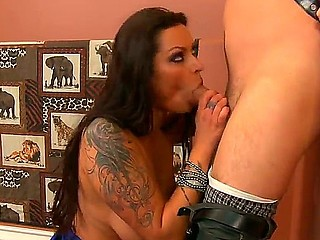 Brunette slut Dane Cross pushing deep in her throat Nikita Denises cock she sucks well and gets her bawdy cleft licked and fucked!