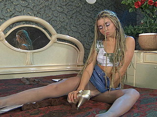 Hatty in cool pantyhose clip