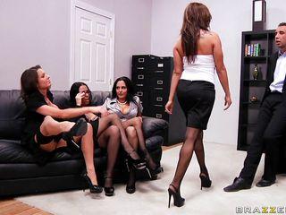 four brunettes start sucking on their bosses knob