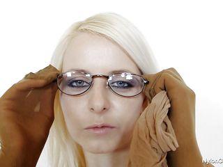 hawt blonde with dorky glasses masturbates covered in nylon