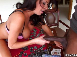 Veronica Avluv is playing poker with her friend, but she wants to raise the stakes a bit and so does he. He grabs a hold of these huge tits of hers and sucks on them for a bit. She gets his cock out and plays with it, even measuring it with a stack of chips, then starts sucking. Poker is exciting!