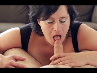 brunette whore with huge tits sucking a long cock