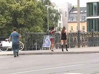 Naughty tied up bitch is getting her screwed on the street