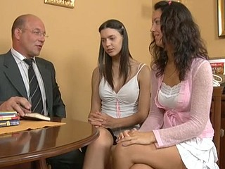 Vicious aged teacher got lucky to have sex with 2 sexy hotties
