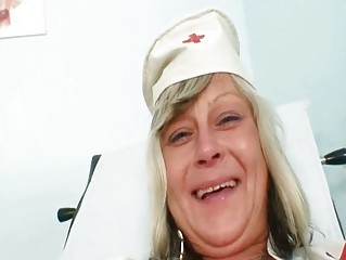 Wicked nurse mom id like to fuck Nada copulates herself together with big rubber toy