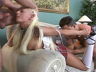 Hot blonde deep sucksfucked and fisted