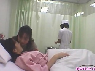 Patient Giving a kiss With Her Girlfriend Getting Her Body Washed Tits Rubbed By The Nurse On The Bed In The Hospital