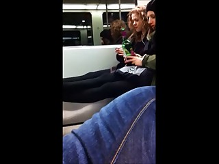 2 young honeys are not amused to acquire flashed on the train