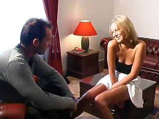 Sexy blonde gal can't decide which cock to suck and fuck so she does them the one and the other