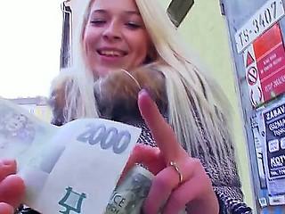 Blonde teen Karol enjoys visit to her boyfriend where she kneels for some hard blowjob
